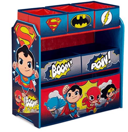 Delta Children 6 Bin Storage Toy Organizer Blue and Grey