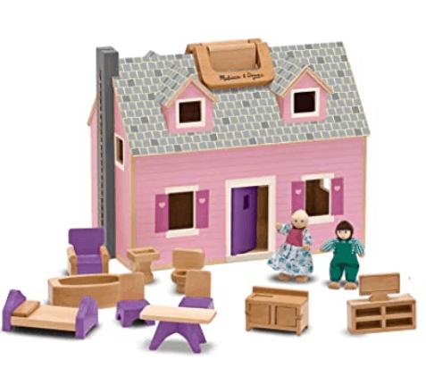 melissa and doug fold and go wooden dollhouse